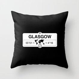 Glasgow Scotland GPS Coordinates Map Artwork with Compass Throw Pillow