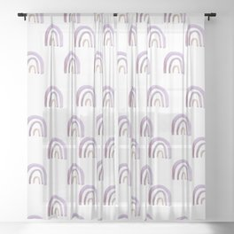 Lilac Lavender Rainbows Sheer Curtain