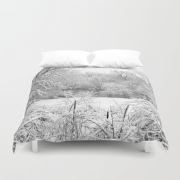 Winter Snow At Huron River Duvet Cover