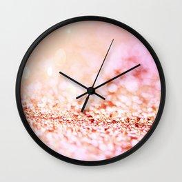 Pink shiny glitter - Sparkle Girly Valentine Backdrop Wall Clock