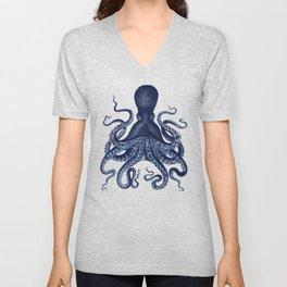 Watercolor blue vintage octopus Unisex V-Neck