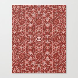 Arabesque Vines Version 2 - Color: Oriental Red/ Silver Canvas Print