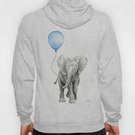 Baby Animal Elephant Watercolor Blue Balloon Baby Boy Nursery Room Decor Hoody