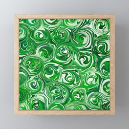 Emerald Green, Green Apple, and White Paint Swirls Framed Mini Art Print
