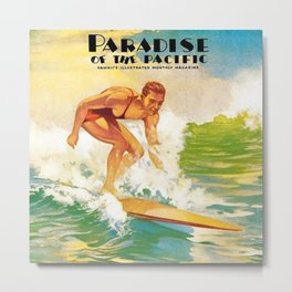Paradise of the Pacific Surfer's Paradise Vintage Poster Metal Print