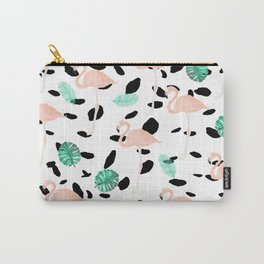 Tropical pink flamingo green watercolor leaf black polka dots llustration pattern Carry-All Pouch