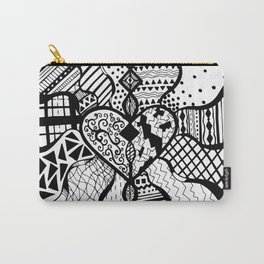 Free Hand Drawn Heart with Random Patterns Carry-All Pouch