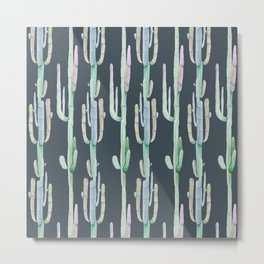 Cactus Stack on Navy Metal Print