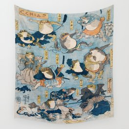 Famous Heroes of the Kabuki Stage Played by Frogs by Utagawa Kuniyoshi  Wall Tapestry