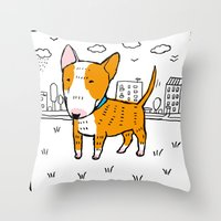 bull terrier Throw Pillows featuring bull terrier by Ellizavetta