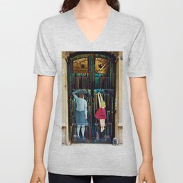 Mural Painted Doorway with Children Photograph Unisex V-Neck