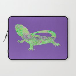 Bearded Dragon Vintage Floral Pattern Purple Green Mint Pink Shabby Chic Laptop Sleeve