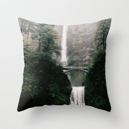 Multnomah Falls Waterfall in October - Landscape Photography Throw Pillow