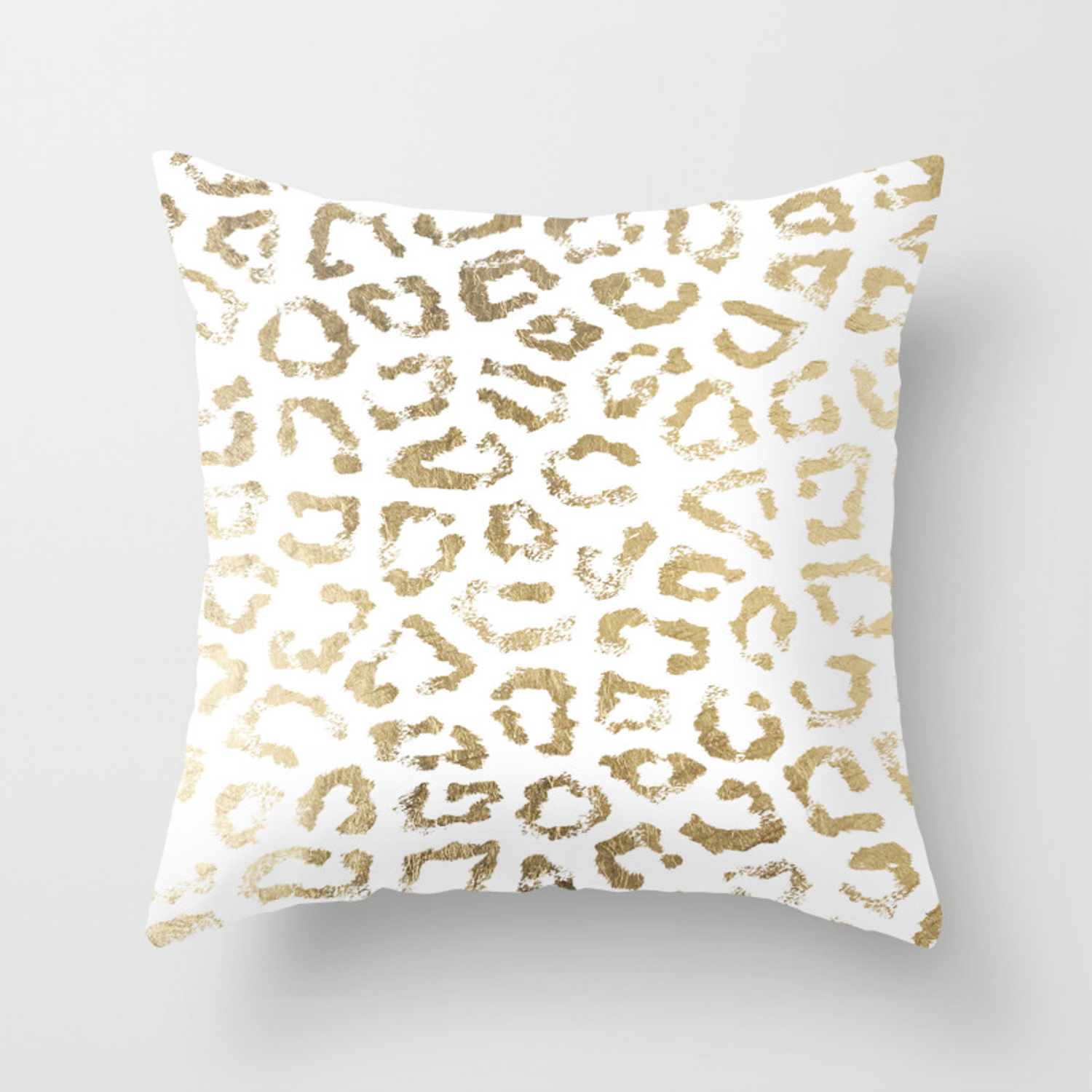 Modern White Chic Faux Gold Foil Leopard Print Throw Pillow By Pink Water Society6