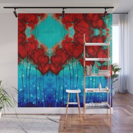Hearts On Fire Patterns - Romantic Art By Sharon Cummings Wall Mural