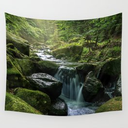 Flowing Creek, Green Mossy Rocks, Forest Nature Photography Wall Tapestry