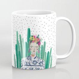 Frida Kahlo. Art, print, illustration, flowers, floral, character, design, famous, people, Coffee Mug