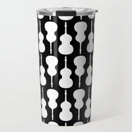 Double Bass Pattern - white on black Travel Mug