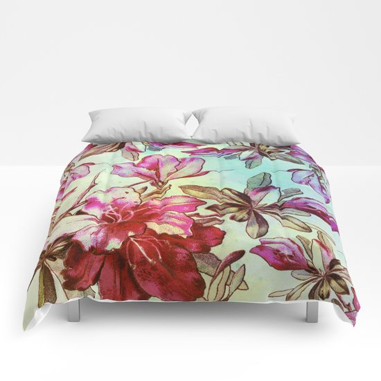 pink lily and turquoise touch Comforters