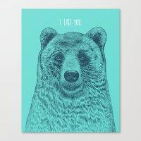 i like you Canvas Prints featuring I Like You (Bear) by Rachel Caldwell