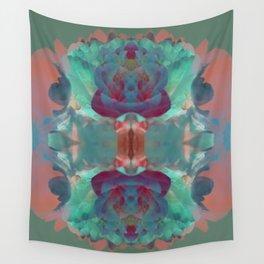 Deep in a Blue Flower Kaleidoscope Wall Tapestry