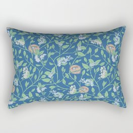 Branches with flowers and bird nests on blue background Rectangular Pillow