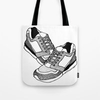sneakers Tote Bags featuring Sneakers by Addison Karl