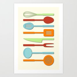 Kitchen Utensil Colored Silhouettes on Cream II Art Print