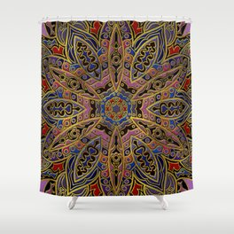Mandala Gold Embossed on Faux Leather Shower Curtain