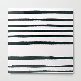 Abstract geometrical hand painted brushstrokes stripes Metal Print