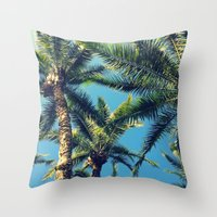 palm tree Throw Pillows featuring Palm Tree by Jillian Stanton