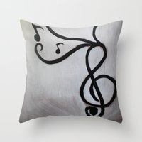 music notes Throw Pillows featuring Music Notes by S. Vaeth