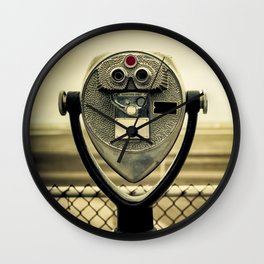 tourist retro coin operated binoculars on the beach in New York City Wall Clock