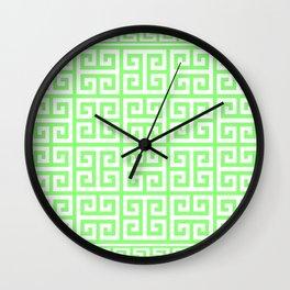 Greek Key (Light Green & White Pattern) Wall Clock