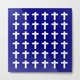 Christian Cross 53– blue with star of david Metal Print