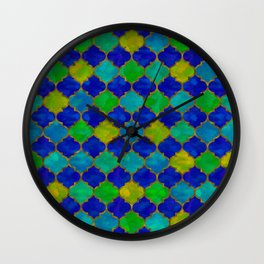 Ocean Breeze -Watercolor Moroccan Lattice Wall Clock