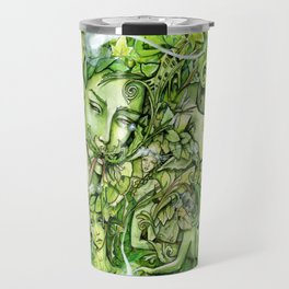 Faces in the Green Travel Mug