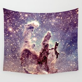 pillars of creation pale mauve blue lavender Wall Tapestry