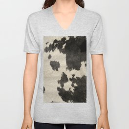 Black & White Cow Hide Unisex V-Neck
