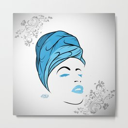 Lady Wrap (blue) Metal Print