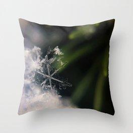 Snowflake on Greenery (Color) Throw Pillow