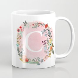 Flower Wreath with Personalized Monogram Initial Letter C on Pink Watercolor Paper Texture Artwork Coffee Mug