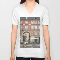 real madrid V-neck T-shirts featuring Relaxing cup, Madrid by Solar Designs