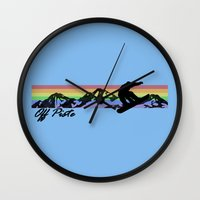 snowboard Wall Clocks featuring Off Piste Snowboard by Paul Simms