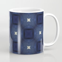 Blue and White Square Pattern Coffee Mug