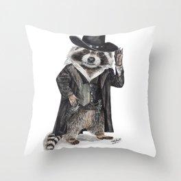 """ Raccoon Bandit "" funny western raccoon Throw Pillow"