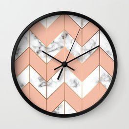 LUXE ROSE GOLD VECTOR ON BLACK AND WHITE MARBLE Wall Clock