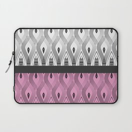 Art Deco 55 . White black and pink textures . Laptop Sleeve