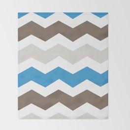 Brown Blue Gray Chevron Throw Blanket