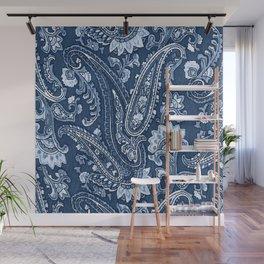 Blue indigo paisley Wall Mural